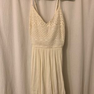 White Thin Strap Dress with Lace Forever 21